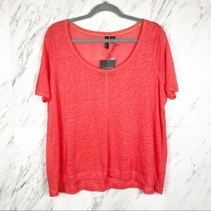 Cynthia Rowley Linen High-Low Short Sleeve Tee L